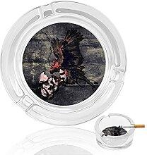 Aschenbecher aus Glas mit Adler-Totenkopf-Motiv,