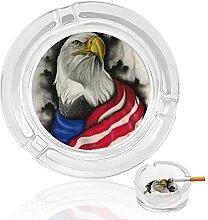 Aschenbecher aus Glas mit amerikanischer Flagge,