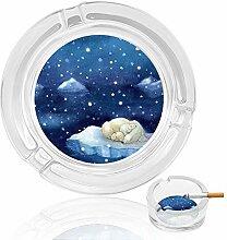Aschenbecher aus Glas mit Bär auf Schnee, für