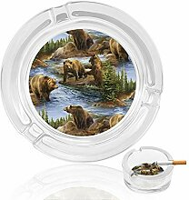 Aschenbecher aus Glas mit Bären-Motiv, für