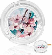 Aschenbecher aus Glas mit Blumen in rosa