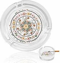 Aschenbecher aus Glas, mit Blumen und Kreisen,