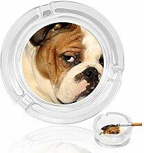 Aschenbecher aus Glas mit brüllendem Hund, für