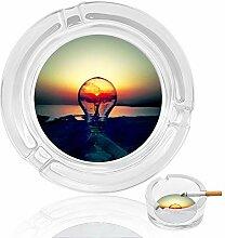 Aschenbecher aus Glas mit Glühbirnen und