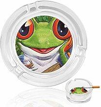 Aschenbecher aus Glas mit großen Augen, Frosch,