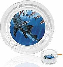 Aschenbecher aus Glas mit großen Haien, für