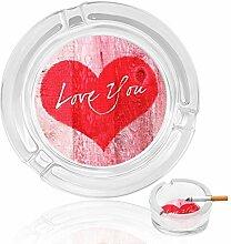 Aschenbecher aus Glas mit Herzen, für drinnen und
