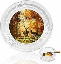 Aschenbecher aus Glas mit Hirschen in Wäldern,