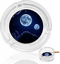 Aschenbecher aus Glas mit Mond-Motiv, für drinnen