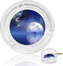 Aschenbecher aus Glas mit Mondlichtern und