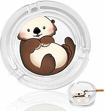 Aschenbecher aus Glas mit niedlichen Bären, für