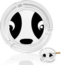 Aschenbecher aus Glas mit Panda-Augen, für