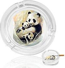 Aschenbecher aus Glas mit Panda-Familie, für