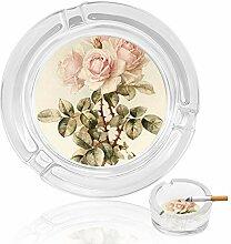 Aschenbecher aus Glas mit rosa Rosen, für drinnen