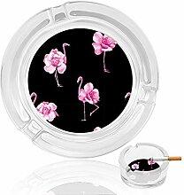Aschenbecher aus Glas mit Rosen- und