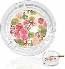 Aschenbecher aus Glas mit Rosenmotiv, für drinnen