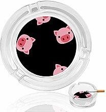 Aschenbecher aus Glas mit Schweinengesicht, für