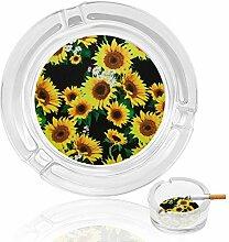 Aschenbecher aus Glas mit Sonnenblumen,