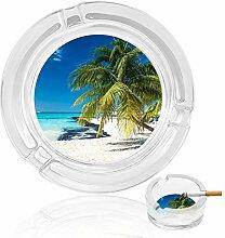 Aschenbecher aus Glas mit Strandbäumen für