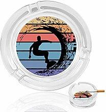 Aschenbecher aus Glas mit Surf-Farben, für