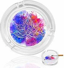 Aschenbecher aus Glas mit Wasserfarben und Blumen,