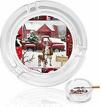 Aschenbecher aus Glas mit weihnachtlichem