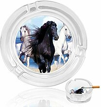 Aschenbecher aus Glas mit weißem Pferd, für