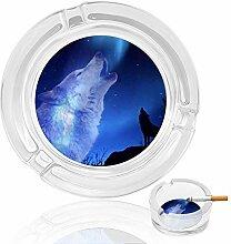 Aschenbecher aus Glas mit Wolfsmotiv, Blau,