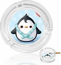 Aschenbecher aus Glas, Pinguine mit Herzen, für