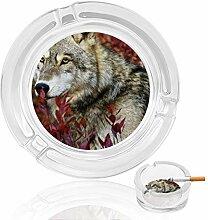 Aschenbecher aus Glas, Wolf mit roten Blättern,