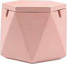 Aschenbecher mit Deckel Polygon Zement,Kreativ