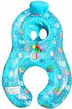 asdomo Mutter Baby Schwimmen Ring aufblasbare Eltern Kind aufblasbares Schwimmbecken Handhold Double Sitz Boot Kleinkind Spielzeug, Blue-Fish
