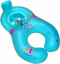 asdomo Mutter Baby Schwimmen Ring aufblasbare Eltern Kind aufblasbares Schwimmbecken Handhold Double Sitz Boot Kleinkind Spielzeug, blau
