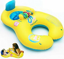 asdomo Mutter Baby Schwimmen Ring aufblasbare Eltern Kind aufblasbares Schwimmbecken Handhold Double Sitz Boot Kleinkind Spielzeug, gelb