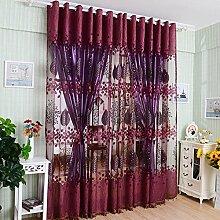 asdomo Sheer Garn Vorhänge Tüll Voile Tür Fenster Gardinen Fall Platten Jalousien für Schlafzimmer Wohnzimmer (1Stück, 1Meter * 2,5m) dunkelviole