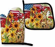 Asekngvo Amerikanische Flagge und Sonnenblume
