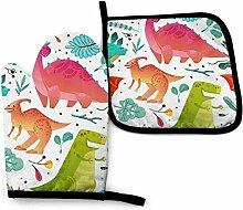 Asekngvo Dinosaurier Buntes Blatt Küchenofen Mitt
