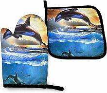 Asekngvo Sunset Sea Dolphin Splatter Baummalerei