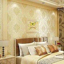 Asenart 3D Modern Luxury Non-Woven-Tapete, Mildew Retardant Anti-Fouling Wandpapiere Home Decoration, geeignet für Wohnzimmer, Küche und Bad (20,8 Zoll breit, 11 Yard Long) (Gelb)