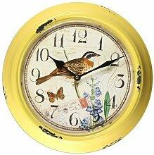 Asense Gelb Eisen Runde Wanduhr mit Vogel