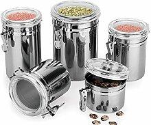 asentechuk® 1Stück Edelstahl versiegelt Vorratsdose transparent Cover Foods Coffee Tee Candy Beans Can Getreide Tank, edelstahl, silber, 13 x 12.5cm