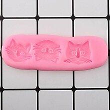 ASFGA 3D Süße Katzenkopf Silikonform DIY Backen
