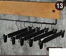 ASGGGFDFH Lange haken solide holz-kleiderbügel für mäntel und hosen,Anti-rutsch kleiderbügel holz kleiderbügel und schulter kerben passen kleiderbügel 10er pack,Schwarz-M 30x15x1.2cm(12x6x0)