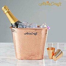 AsiaCraft ® Eiskübel, Hammered Copper, 2700 ML mit Copper Shot Glass, 2er Se