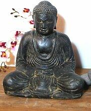 Asiastyle P ‐ SB7‐ 030af Japanische sitzender Buddha Skulptur, 30cm, grau, 30x 30x 30cm