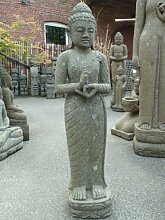 Asiastyle Standing Buddha with Hand Posture Wheel of Teaching Skulptur, Grau, 120 cm