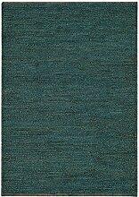 Asiatic Teppich Wohnzimmer Carpet flachgewebt kurzflor Design SOUMAK RUG 100% Jute 66x200 cm Läufer Türkis | Teppiche günstig online kaufen