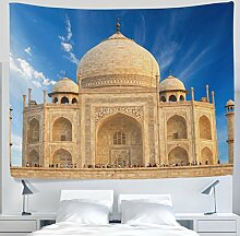 Asiatische Decor Kollektion Indien Taj Mahal Wolken Himmel blau Landschaft Wandteppich für Polyester-Artwork Leichtes-Cottage Wohnheim Art Wand Home Dekoration 152,4 x 101,6 cm, Textil, blau, 90x60(in)