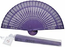 Asiatische Import Store 20,3 cm Dark Purple Wood Panel Hand Fan w/Beige Organza Tasche