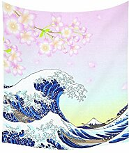Asiatische Japanische Home Decor Wandteppiche Wand Kunst, Big Wave Full Moon Wandteppich für Art Sets 152,4 x 129,5 cm, Textil, Multi 7, 51 X 60 inch